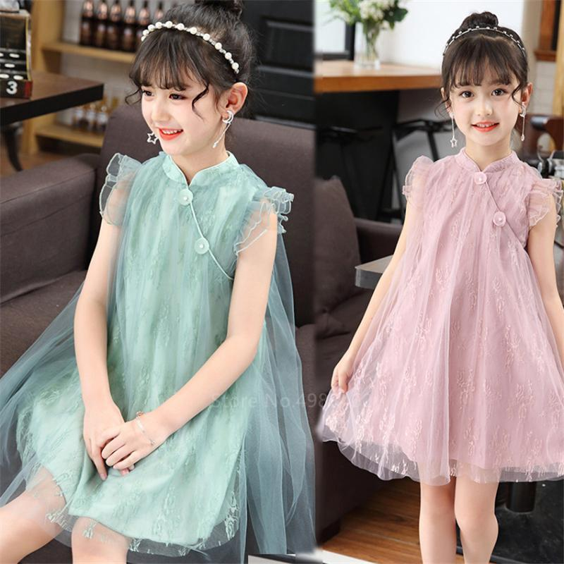 Kids Traditional Clothing for Baby Girls Chinese Cheongsam Dress Qipao Birthday Party Fancy Lace Chiffon Patchwork Costume