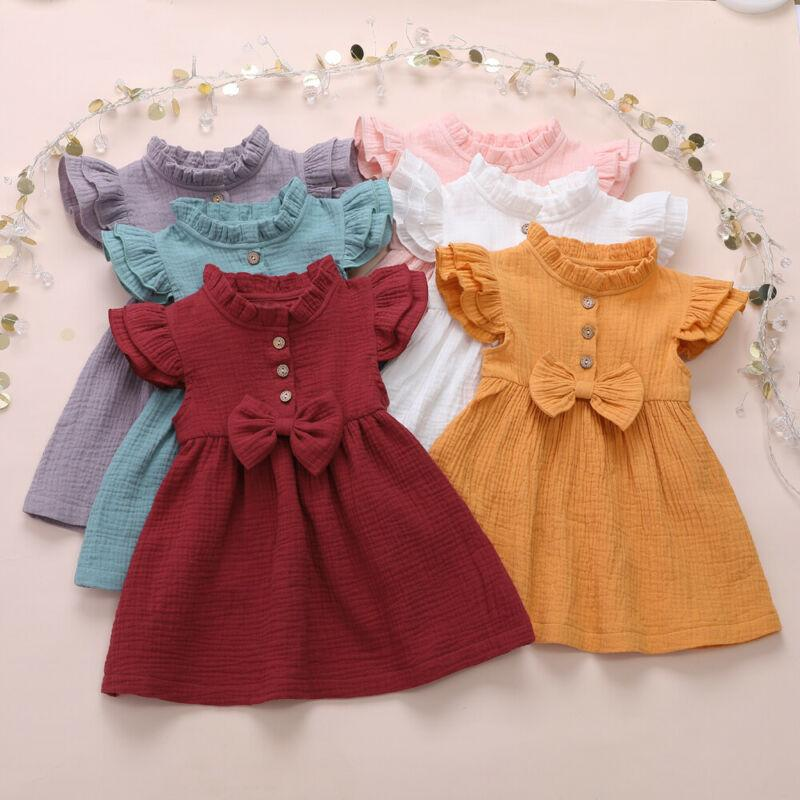 2020 Newborn Toddler Infant Baby Girls Summer Ruffle Bow Dress Casual Princess Party Tutu Solid Dress