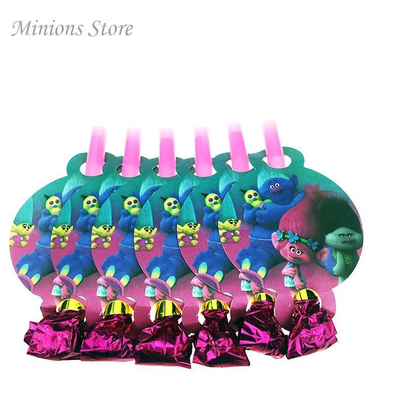 12pcs / Lot Trolls dinosaurio de dibujos animados Moana Silva Panda Panda Sofía Blowing Dragón Blowout fiesta de cumpleaños de los niños Otros suministros del partido del acontecimiento S