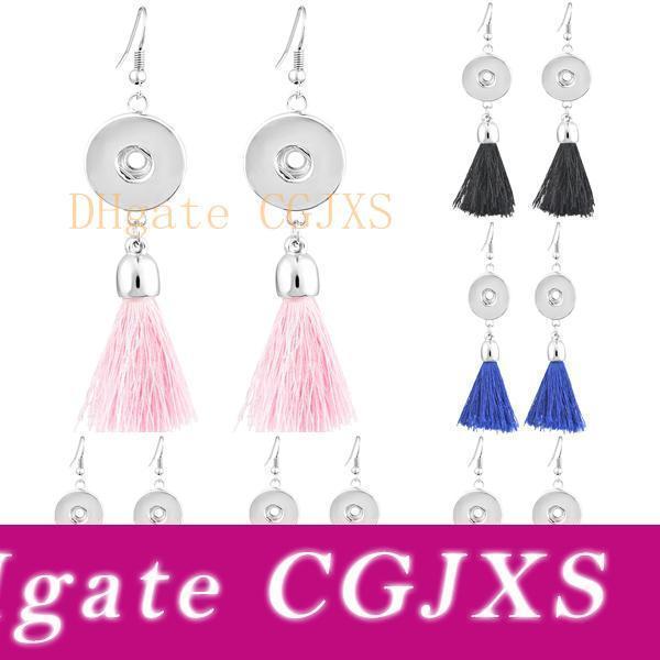 누사 귀걸이 라운드 핑크 블루 블랙 다크 퍼플 레드 오렌지 개의 Tassels 매달려 스냅 버튼 귀걸이 (6 개) 스타일 DIY 스냅 버튼에 적합 N509Q
