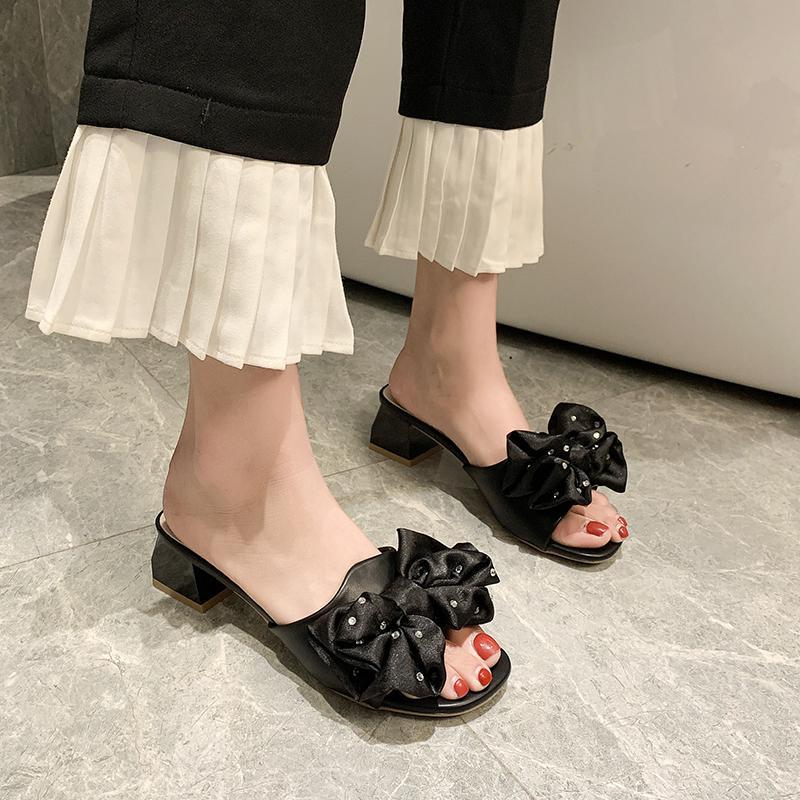 black open toe slides