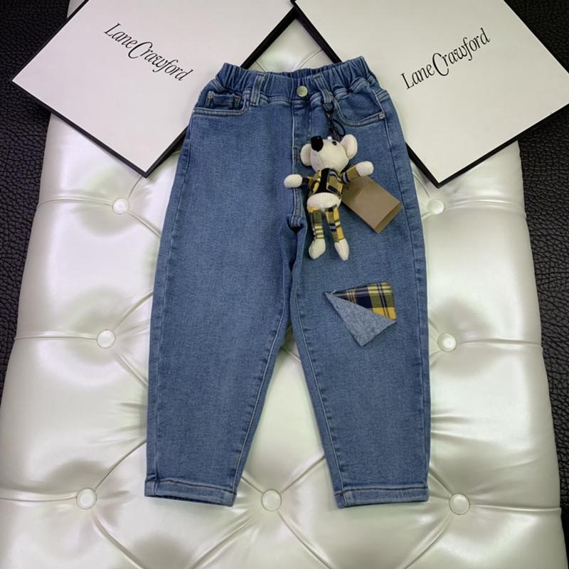 Tops Bebés Meninas Jeans calças com calças Urso Pendant Crianças Outono Meninos Denim Casual Crianças calças compridas