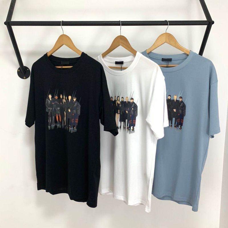Tendencia banda del modelo de foto impresa camiseta clásica de gama alta camiseta ocasional sólido del cortocircuito del verano Calle mangas Hombres Mujeres T transpirable HFYMTX805