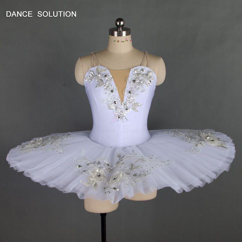 Bühnenverkleidung Standardgröße Ballett Tanzkleid Weiß Pfannkuchen Tutu Stiff Tüll Ballerina Professionelle Erwachsene Kind Kostüm