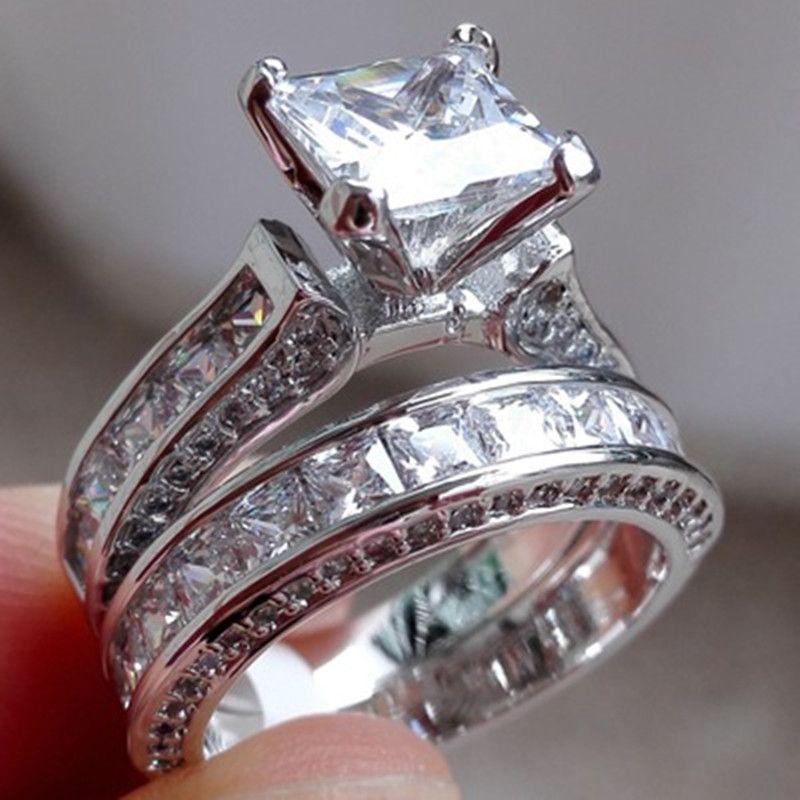 2pcs / lot argent double gros anneaux ensemble fiançailles pour femme hommes bague zircone cubique bague dames amant partie bijoux de mariage