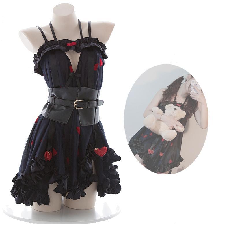 일본어 Kwaii 로리타 하라주쿠 소녀 하트 falbala 속옷 잠옷 여성 란제리 민간 섹시한 사진 세트 선물