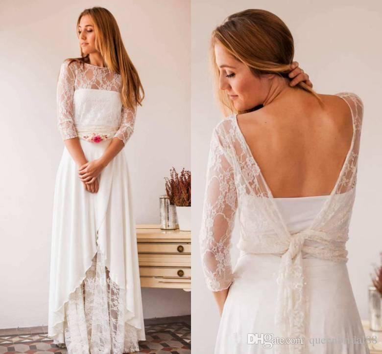 2019 Country Wedding Dresses A Line Long Strapless Spring Summer Bridal Dresses China with 3/4 Long Sleeves Lace Jackets Wedding Gowns