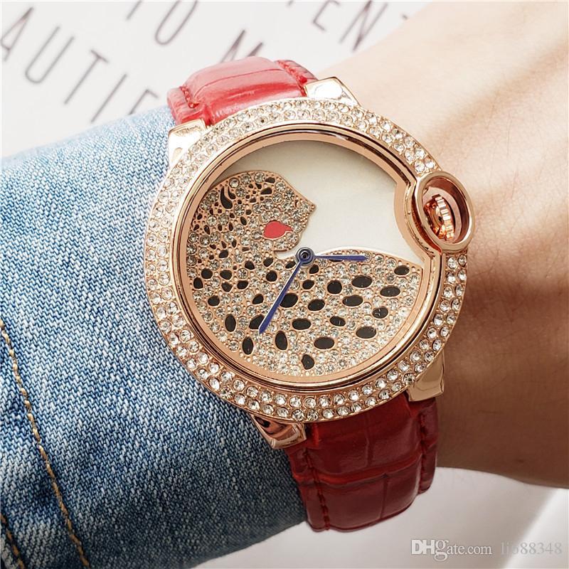38mm regarder les femmes de luxe design diamant en cuir motif léopard dame montres dames robe rose femme cadeau horloge or pour les montres-bracelets fille