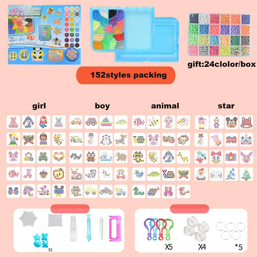 6000 unids 30 colores accesorios de bricolaje regalo agua pegajoso fusible de los granos de recarga Compatible Magic Art Toys educativos para niños 3D Puzzles
