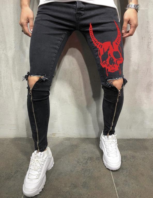 Matita dei pantaloni Pantaloni progettista del Mens jeans gamba Zipper Fori Biker Skateboard Sport