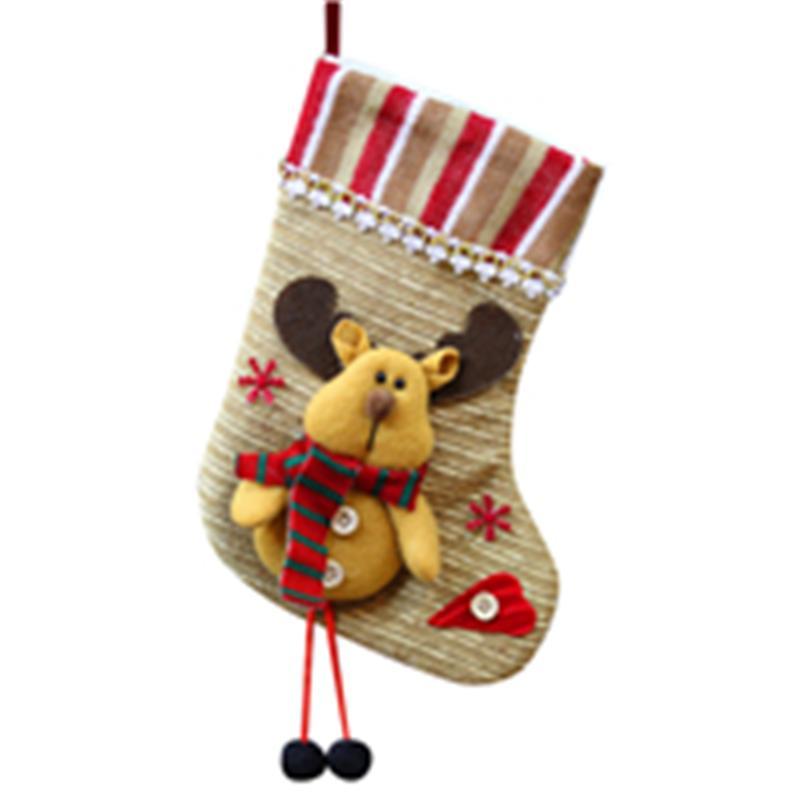 زينة عيد الميلاد غير المنسوجة الأقمشة الحلوى حقيبة هدية شجرة زخرفة جورب سانتا كلوز ثلج ديكور الجوارب شنقا F301129