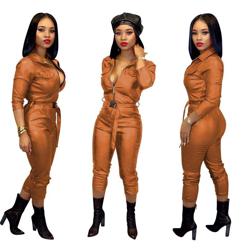 Spring Long Sleeve Turn-Down Collar Jumpsuit Women High Elastic Pu Leather Jumpsuit Belt Casual Tight Jumpsuits