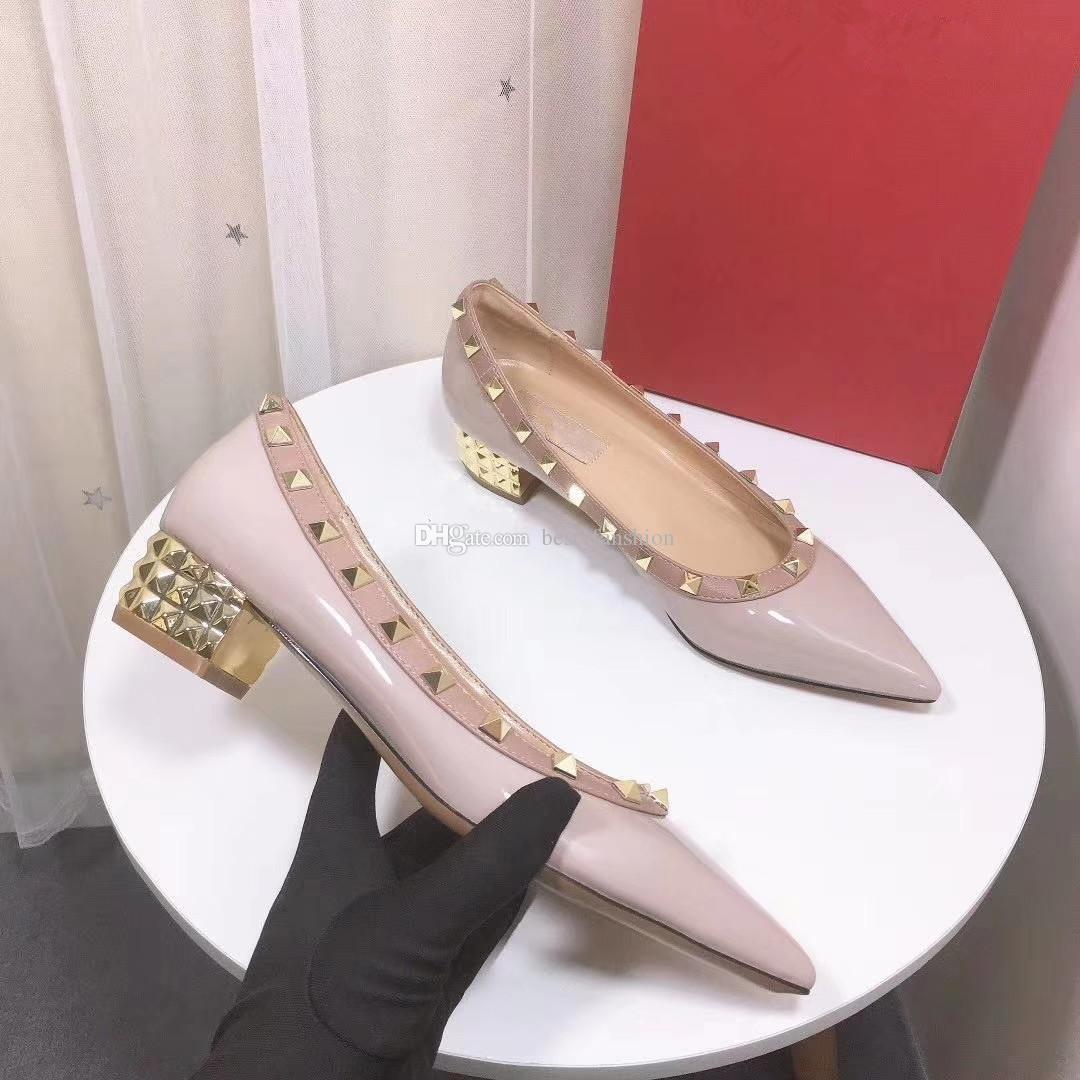 Top-Qualität Discount Designer-Frauen mittlere Ferse ungefähr 3.5cm goldenen Chunky Ferse Luxus Pumpe viele Farben auf Lager Mädchen Kleid Schuhe EUR34-41
