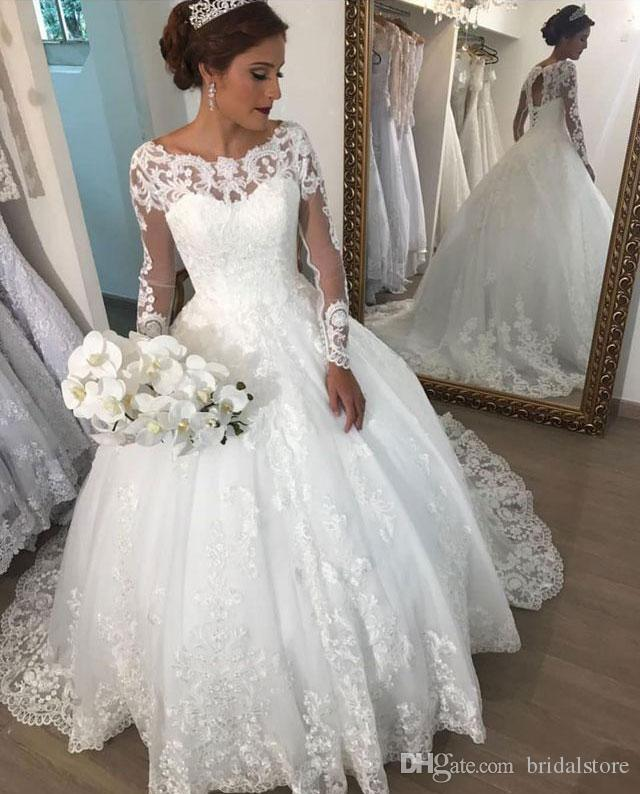 Open Back Princess Wedding Dresses Long Sleeves Lace Boho Wedding Dress Elegant Ball Gown Plus Size Queen Bridal Gowns 2019 Big Size Bridal Gown