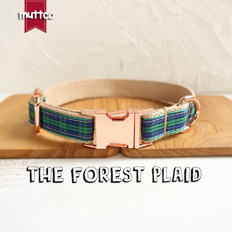 MUTTCO retailing unique new style collar THE FOREST PLAID cotton dog collar leash set 5 sizes UDC014M