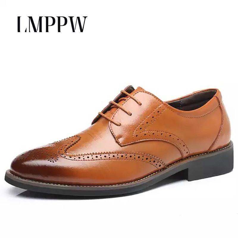 Большой размер 38-48 бизнес повседневная мужская обувь Буллок резные мужская вечернее платье офис Мужская обувь оксфорды дышащий британский стиль