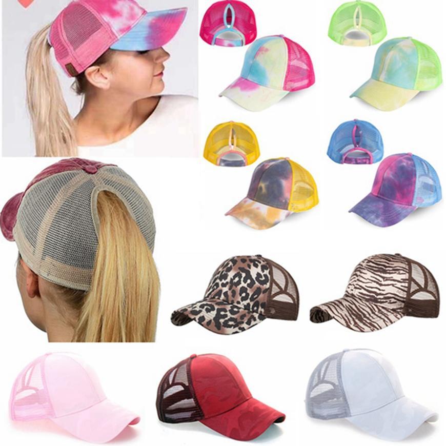 Fashion Ponytail Baseball Cap Mesh Breathable Trucker Pony Caps Colorful Leopard Print Unisex Sun Hat Snapbacks Outdoor HHA1414-1