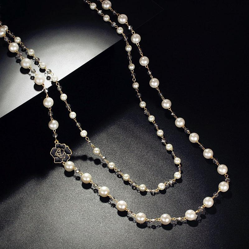 Women/'s Gold Silver Double Link Chain And Simulated Pearl Pendant Necklace Gift