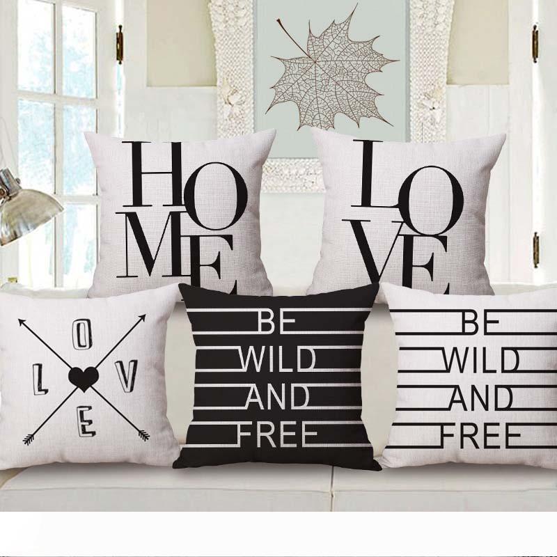الحب ديكور المنزل الاقتباس الحديث غطاء وسادة أبيض وأسود الانجليزية إلكتروني رمي وسادة حالة اليورو