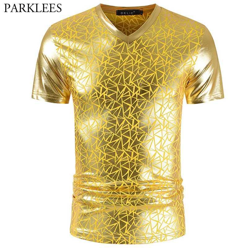 Geometric Gold Metallic Tshirt Men 2020 Nightclub Party Prom Mens T Shirts Hip Hop Slim Fit V Neck Streetwear Tee Shirt Homme