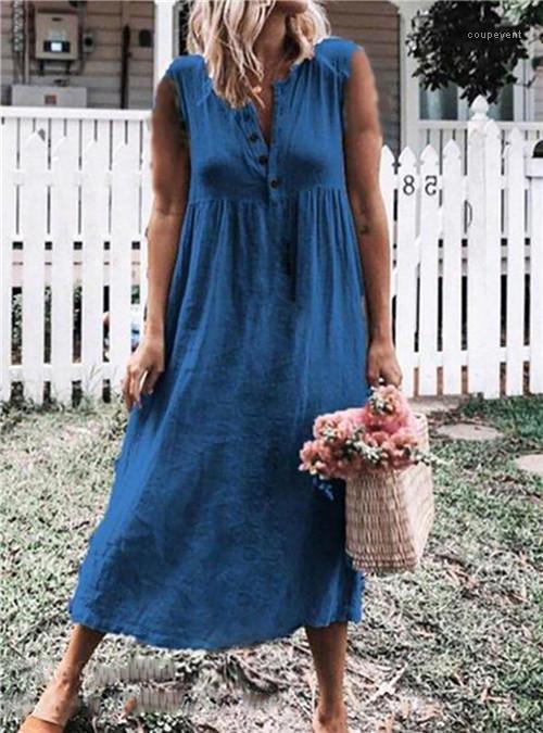 Vêtements Cinq Stlye Casual Vêtements Femmes 4XL été Soild couleur manches Robes Bohemima col en V Fashion Designer
