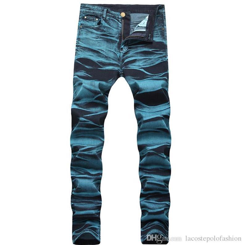 Мужские джинсы дизайнер синий Омывается Zipper Fly Карандаш Джинсы Дизайнерские середины талии Длинные брюки Мода джинсы