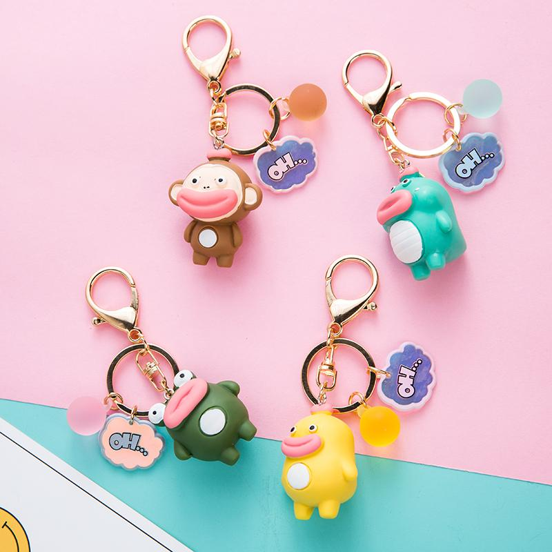 CHUNOU Funny Big Mouth Monkey Duckling Frog Dinosaur Keychain Keyring Creative Cartoon Animal Doll Bag Car Key ring Accessories