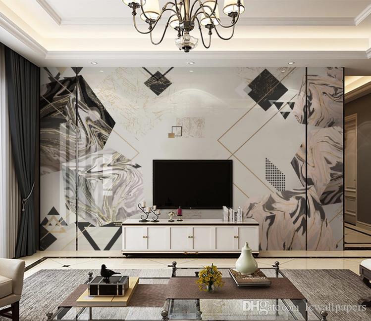 Европейский стиль 3D геометрический полигон Мраморная текстура обои фото фрески гостиная телевизор диван отель фон обои домашний декор