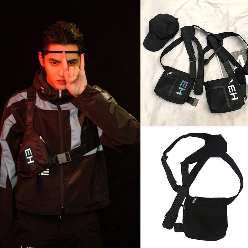 Reflexivo Letters Homens Chest Rig pequeno saco tático Peito Bolsas Hip-hop Vest Bag Outdoor Streetwear por Mulheres Bolsa de Cintura Bolsa