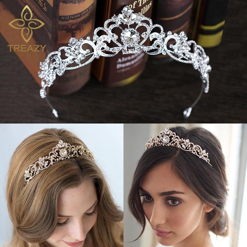 TREAZY plata / oro color de cristal del partido del desfile de boda Corona diadema floral tiaras de novia del corazón del pelo accesorios del regalo de cumpleaños