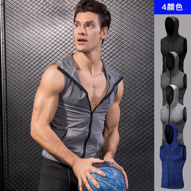 2020 uomo incappucciato Basketball giacca senza maniche Felpa con cappuccio Top Palestre Sport Vest Tops in corso