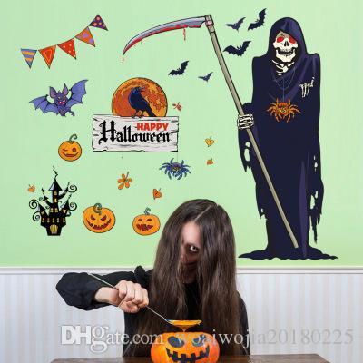 20190621 Parede decorativa com PVC para o quarto de Halloween, sala de estar, janela, porta de bar e janela