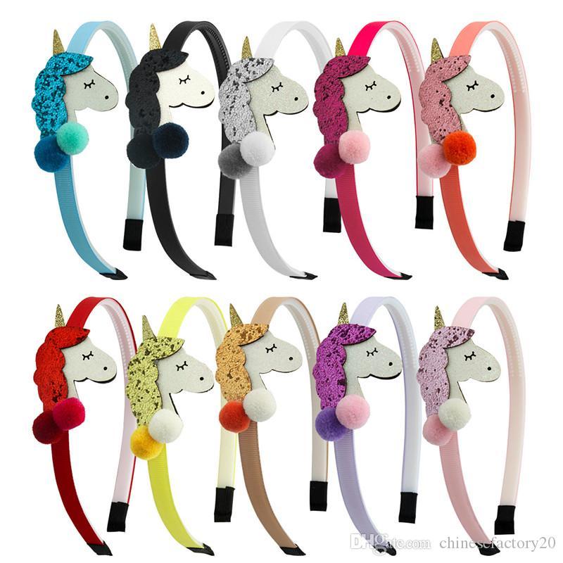 10 개 색상 소녀 유니콘 헤드 밴드와 볼 장식 조각 머리는 만화 소녀 빛나는 디자이너 머리띠 키즈 할로윈 헤어 액세서리 스틱