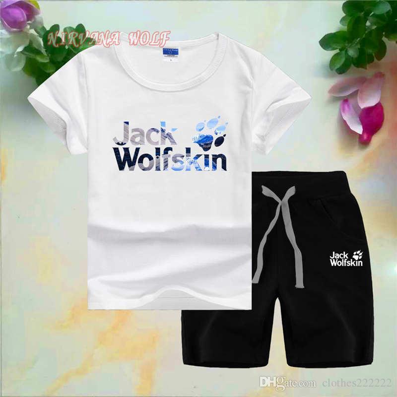 Wolf pawskids designer kleidung jungen oansatz t-shirt kurze hosen 2 teile / sätze jungen mädchen reiner baumwolle berggipfel kinder sommer sets