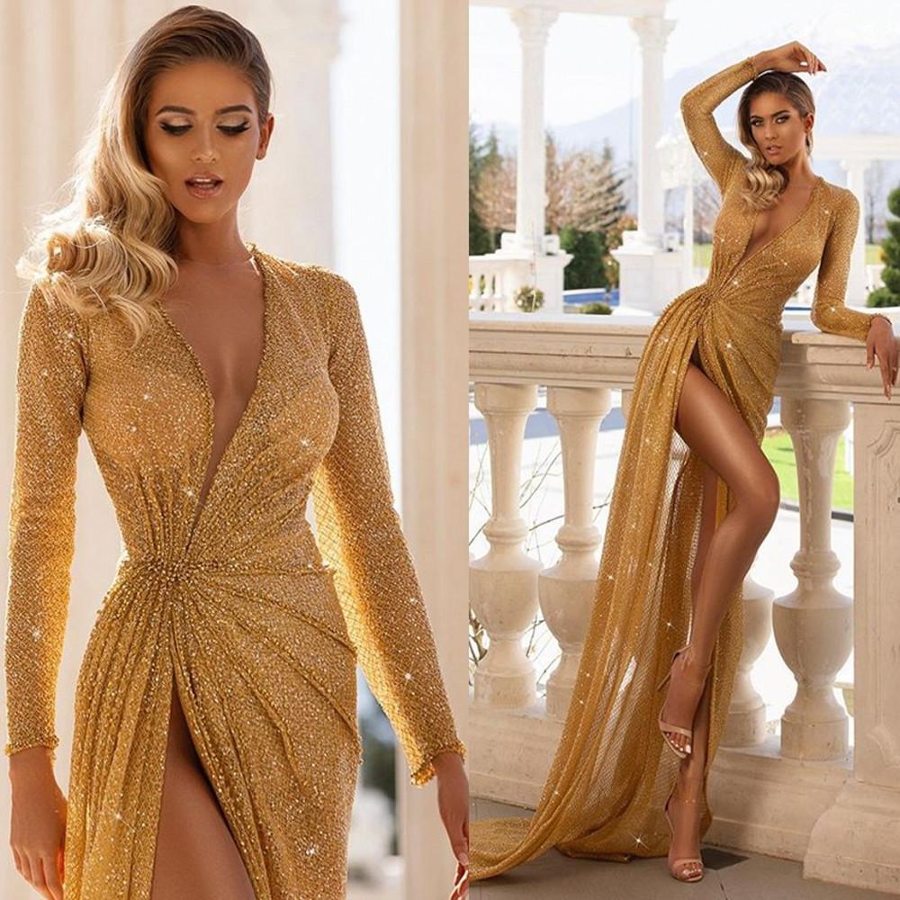 2020 Apliques lentejuelas sirena vestidos de baile cuello en V profundo del lado alto de Split cordón de los vestidos de noche por encargo del barrido de desgaste del tren de partido formal