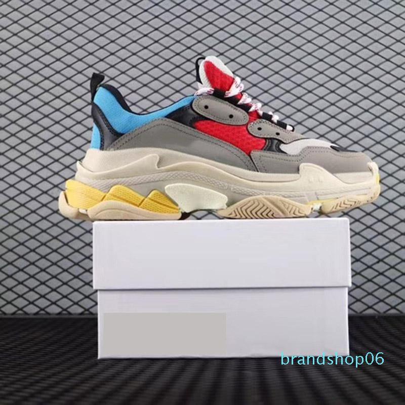 Dad Paris 17FW Triple-S Walking Shoe Luxo Sapatos Chaussures Femme Triple S 17FW Designer Sneakers instrutor vovô Old Vintage