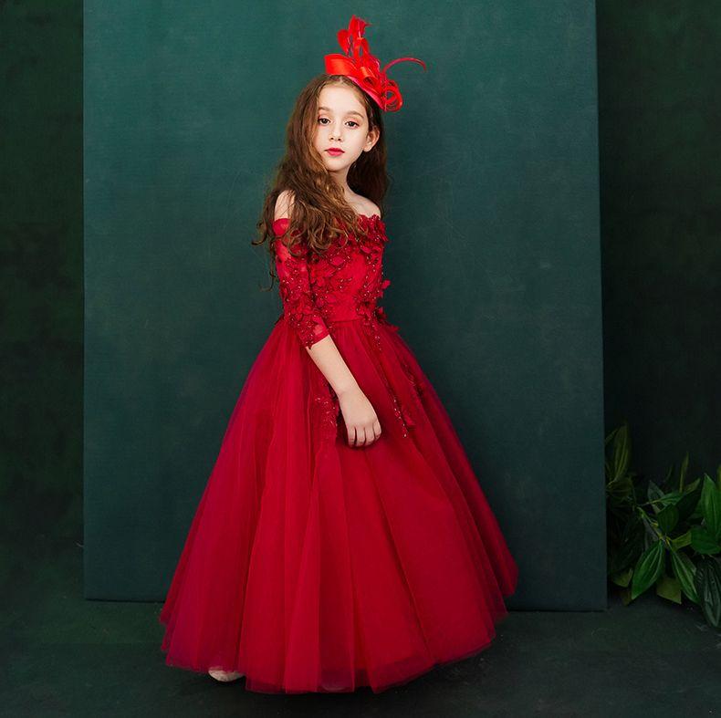 Sweet Red Bateau Applique Caviglia Abiti da spettacolo per ragazza Flower Girl Abiti Principessa Abiti da festa Child Skirt Custom Made 2-14 H313288