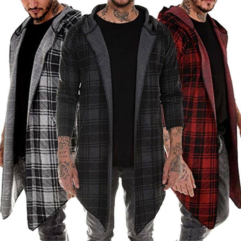 Hombres con estilo sudadera con capucha caliente Tops tela escocesa abierto puntada capa de la chaqueta informal Outwear el sobretodo del foso