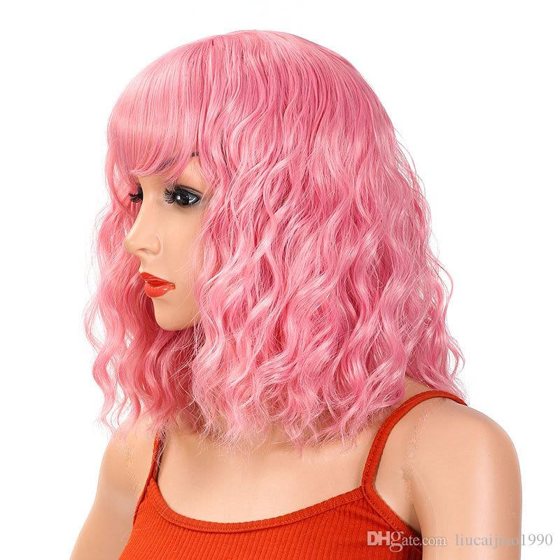 IMEYLE Wig 1 Glasses Cute Pink Color Anime Cosplay Wig For Women Long Wavy Wig With Bangs Synthetic Wig For Movie