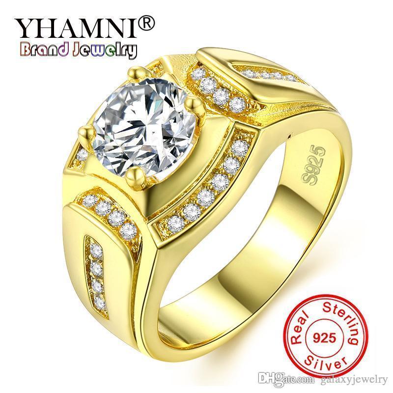 YHAMNI Edlen Schmuck Männer Ring 100% Original Reine 925 Silber Ring Gold Farbe CZ Zirkon Hochzeit Verlobungsringe für Männer KYRA0115