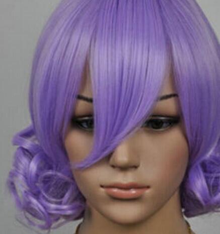 Парик LL 002864 новый косплей короткий светло-фиолетовый вьющийся парик