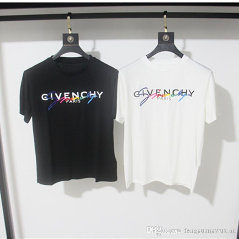 givenchy giv 19SS Signature T-shirt Paris l'Europe Broderie Imprimer Lettre Mode Homme T-shirts Casual Hommes Femmes Vêtements Coton T Hauts FG9571