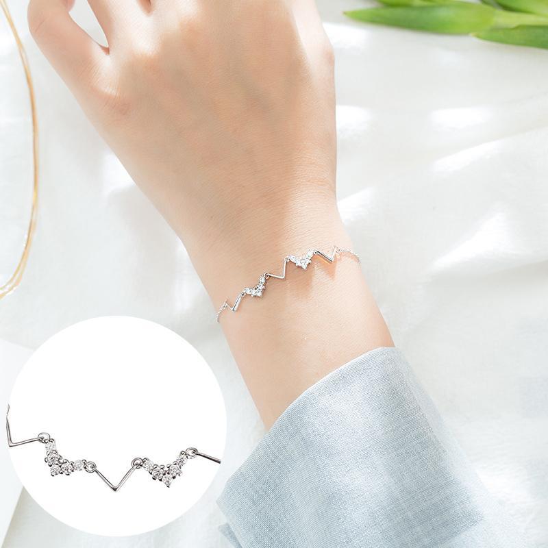 Catena Braccialetti di collegamento per le donne con S925 Sterling Bracciale in argento con zircone gioielli e accessori D041 all'ingrosso