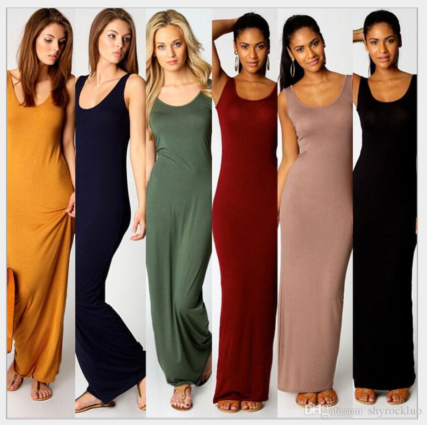 2019 neue sommer casual bodycon strandkleid frauen sexy elegante fashion club weste kleider bohemian lange maxi dress plus size robe 14 farben