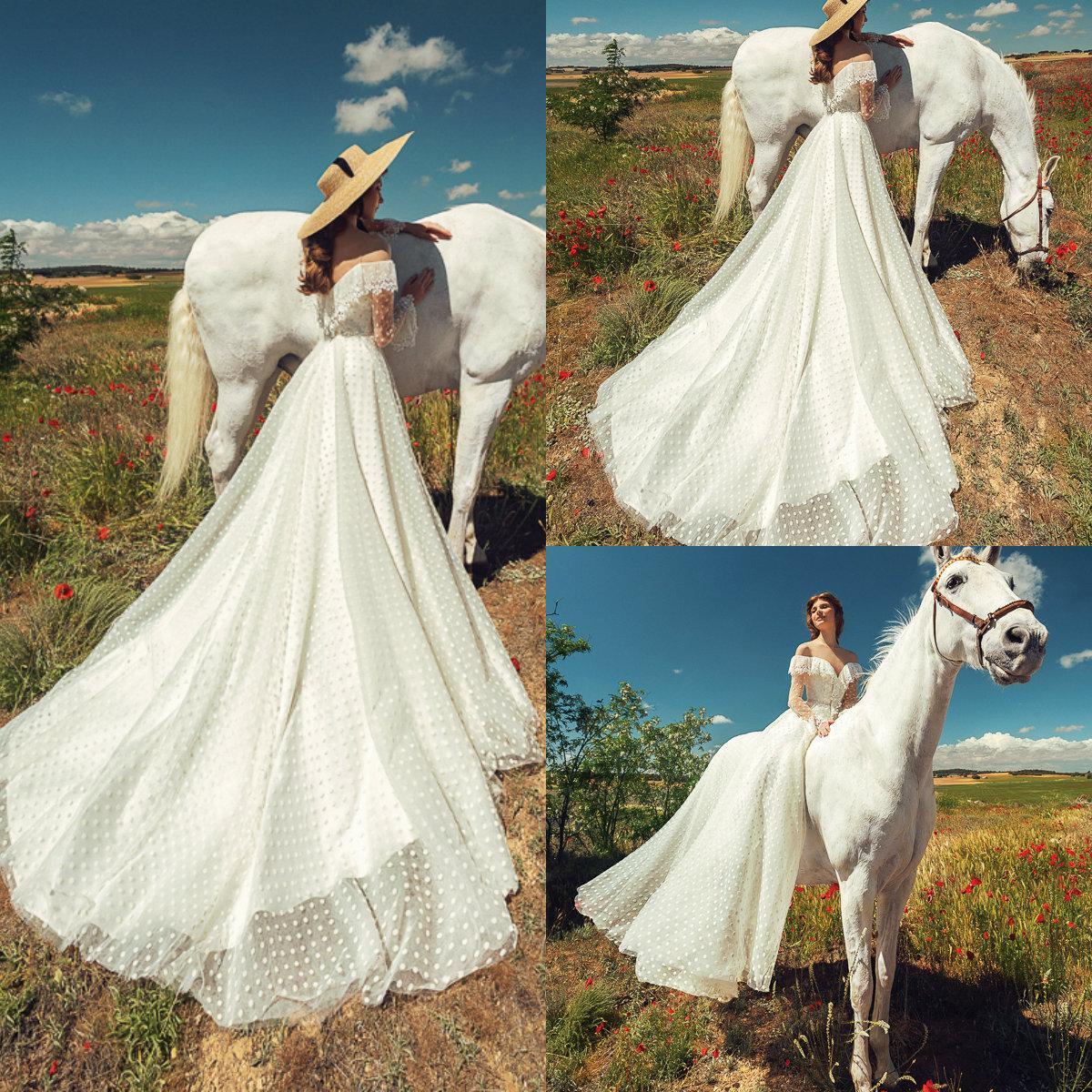 Сексуальные старинные свадебные платья с открытыми плечами с длинным рукавом аппликация кружева Dot A Line свадебное платье пляж спинки развертки поезд Vestidos De Novia