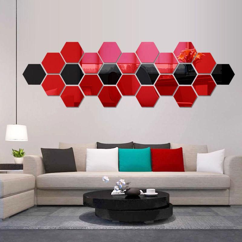 Wall Sticker 3D Specchio Hexagon Vinile smontabile della casa della decalcomania della stanza della decorazione di arte