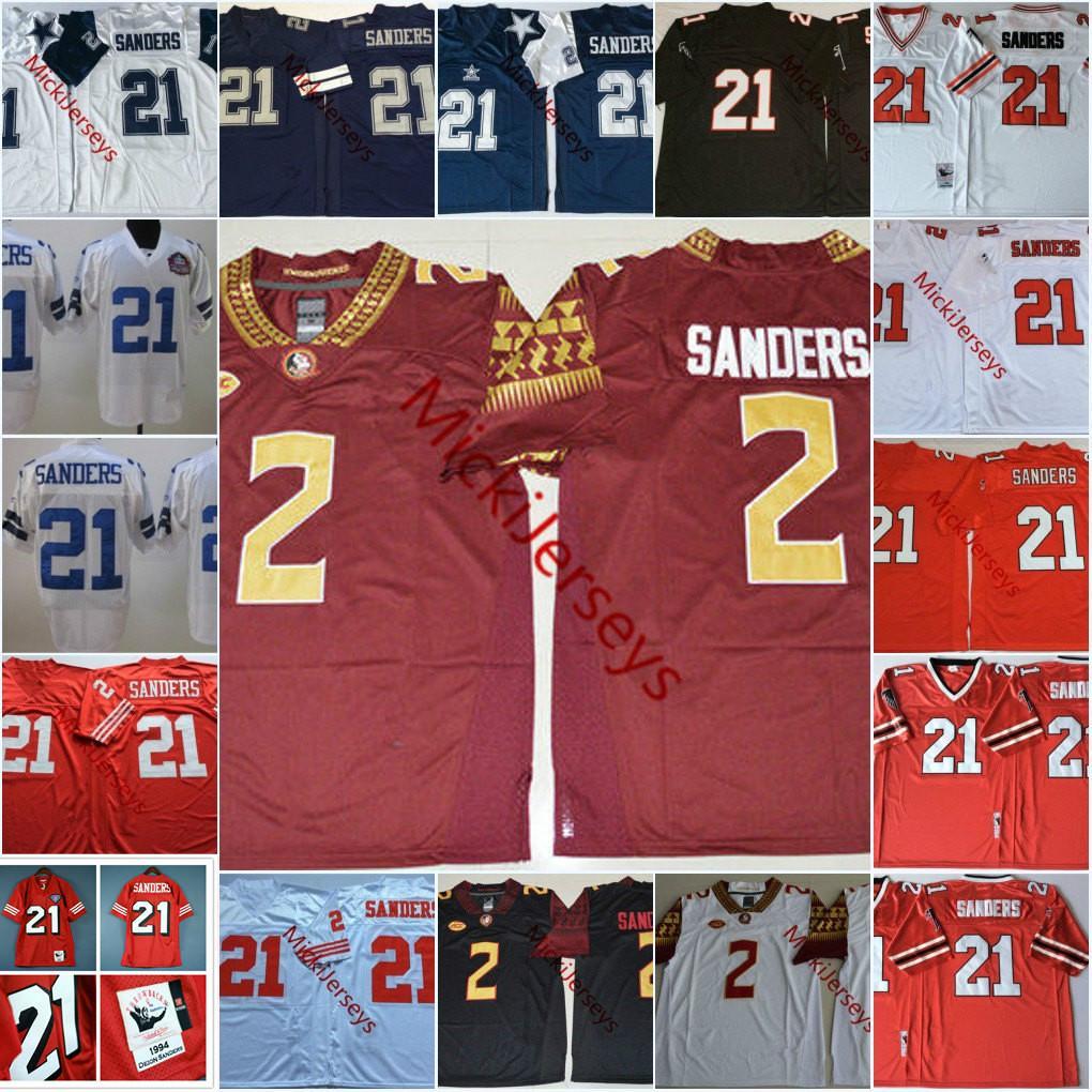 Mens NCAA # 2 Deion Сандерс штата Флорида семинолов Колледж футбол Джерси вышивки прошитой # 21 Deion Сандерс Джерси S-3XL