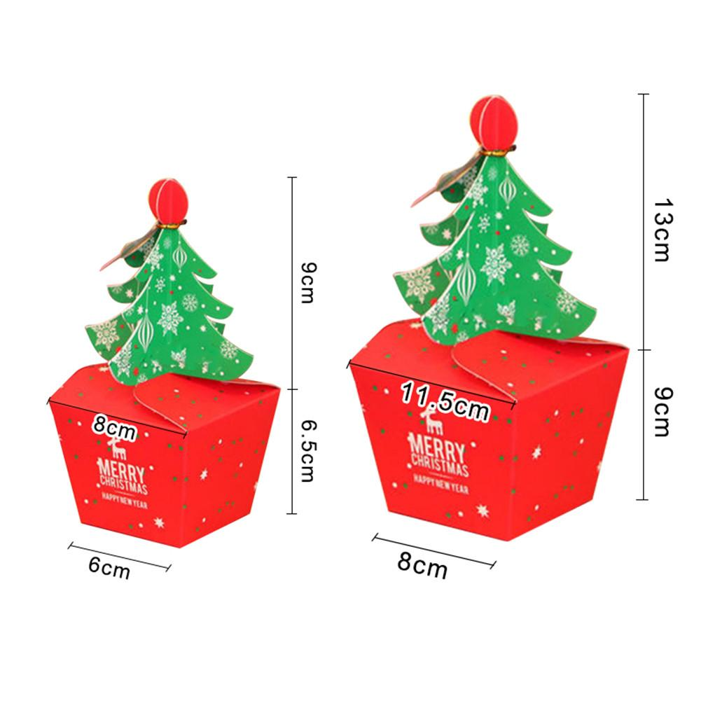 5pcs Hot Sale Christmas Tree Packing Box Cupcakes Dessert Cookies Candy Gift Apple Box with Bells Golden Cord Christmas gift