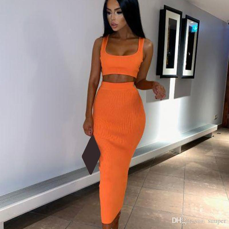 Womens Sexy Two Piece Sets Long Dress 2019 Summer 2 Piece Women Crop Top And Skirt Set Party Club Outfits Orange Sets Clothes