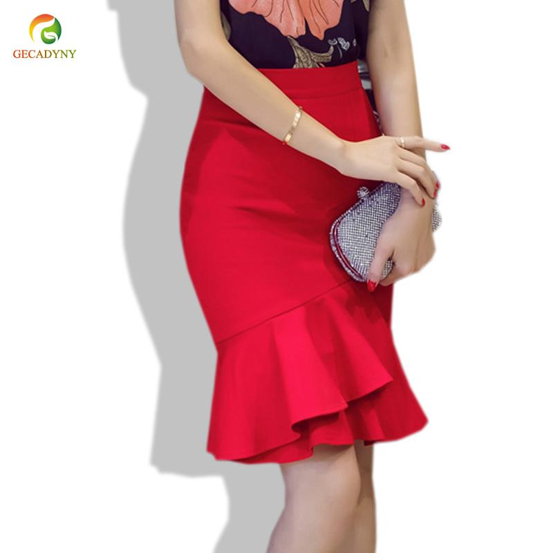 Las mujeres forman longitud de la rodilla falda sirena de alta cintura delgada faldas del lápiz más el tamaño Negro Rojo dobladillo irregular ajustado de la falda de Saia S-5XL